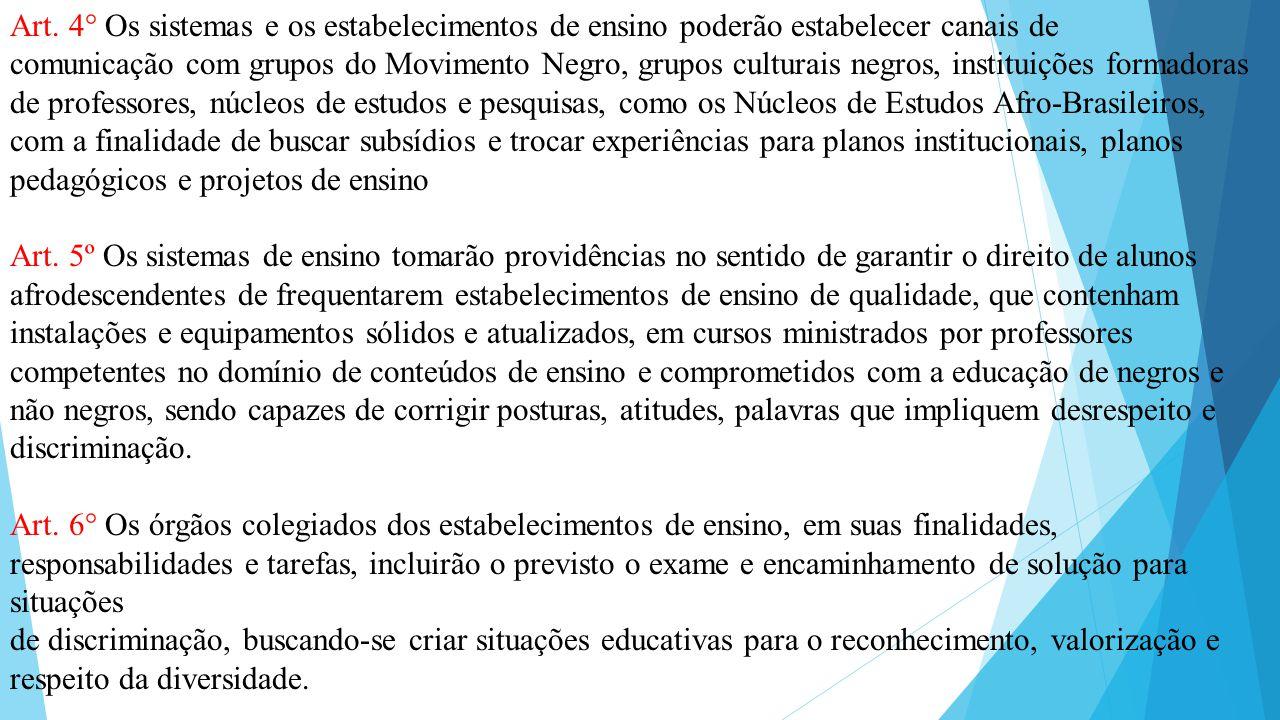 Art. 4° Os sistemas e os estabelecimentos de ensino poderão estabelecer canais de