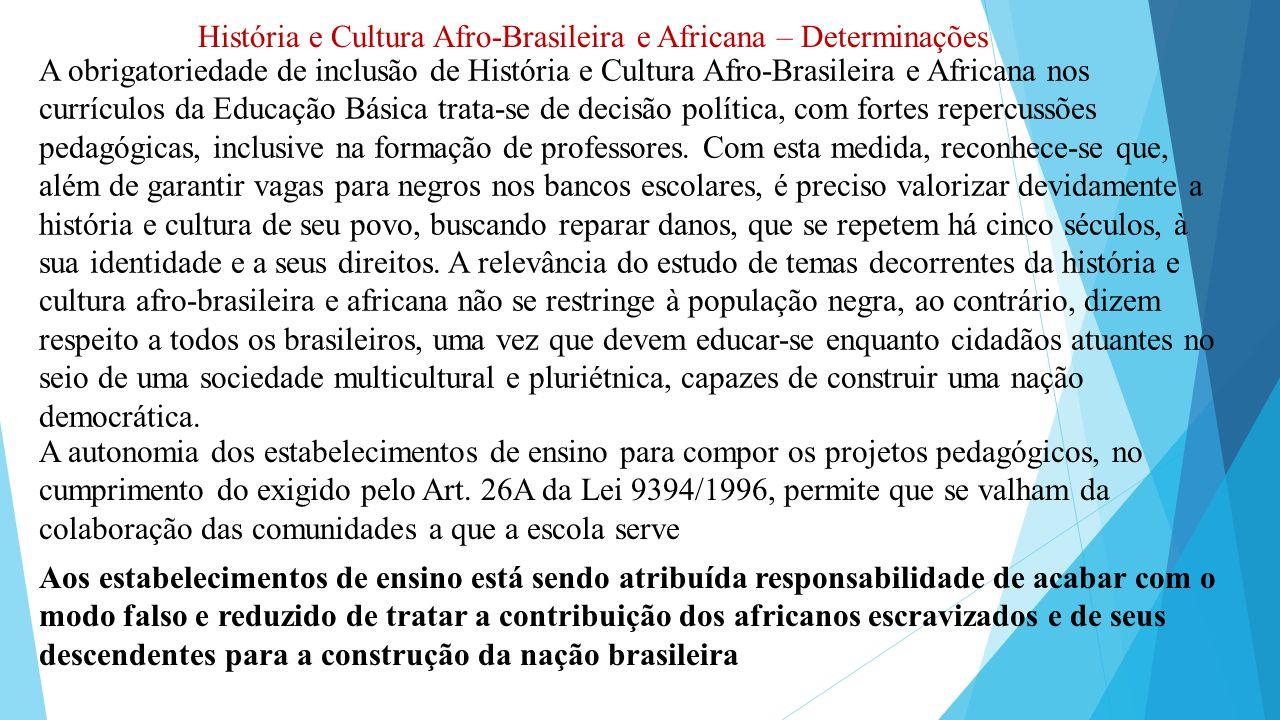 História e Cultura Afro-Brasileira e Africana – Determinações