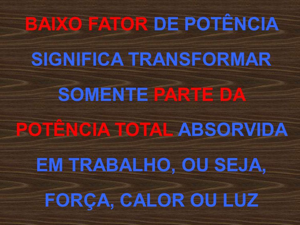 BAIXO FATOR DE POTÊNCIA SIGNIFICA TRANSFORMAR SOMENTE PARTE DA POTÊNCIA TOTAL ABSORVIDA EM TRABALHO, OU SEJA, FORÇA, CALOR OU LUZ