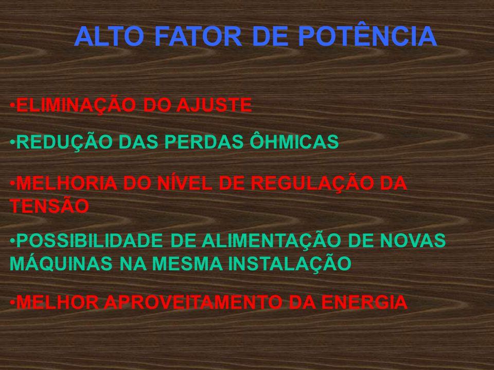 ALTO FATOR DE POTÊNCIA ELIMINAÇÃO DO AJUSTE REDUÇÃO DAS PERDAS ÔHMICAS