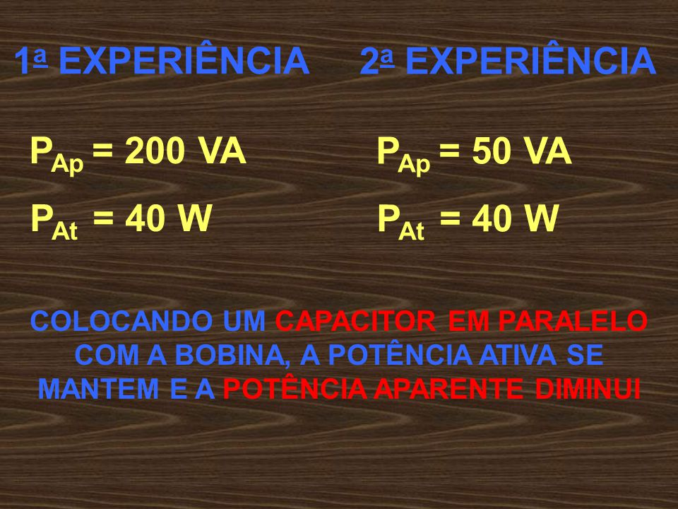 1a EXPERIÊNCIA 2a EXPERIÊNCIA PAp = 200 VA PAp = 50 VA PAt = 40 W