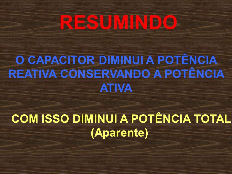 RESUMINDO O CAPACITOR DIMINUI A POTÊNCIA