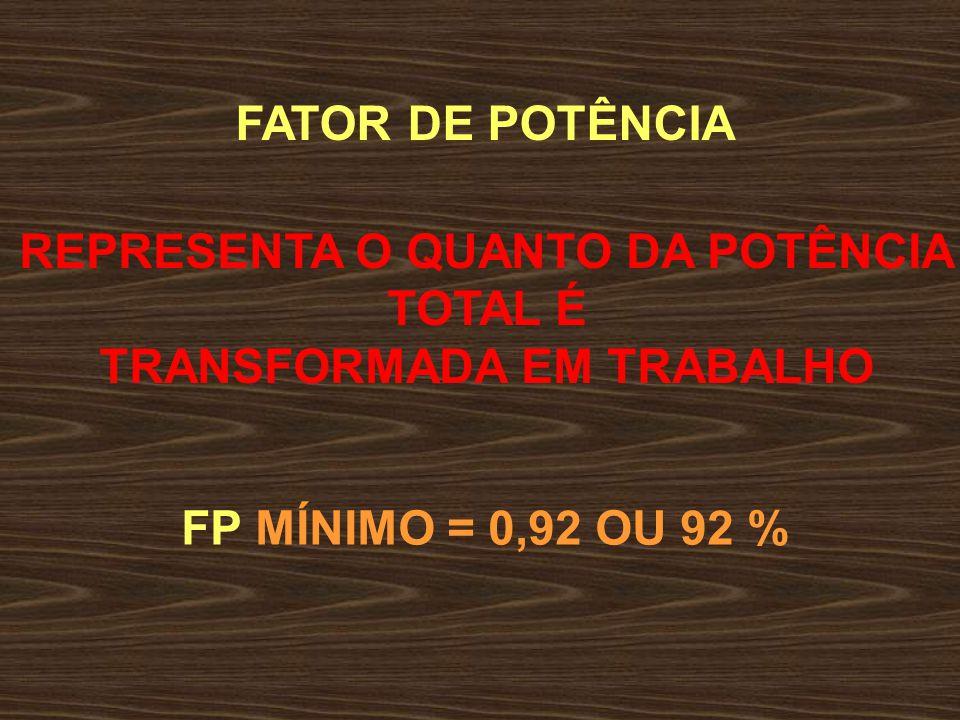 REPRESENTA O QUANTO DA POTÊNCIA TRANSFORMADA EM TRABALHO