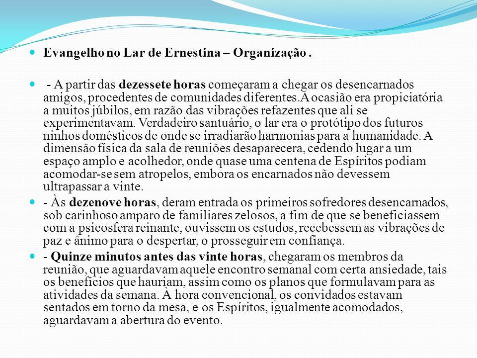 Evangelho no Lar de Ernestina – Organização .