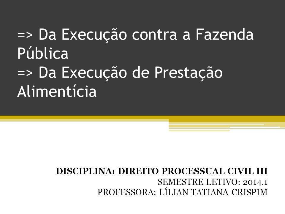 => Da Execução contra a Fazenda Pública => Da Execução de Prestação Alimentícia