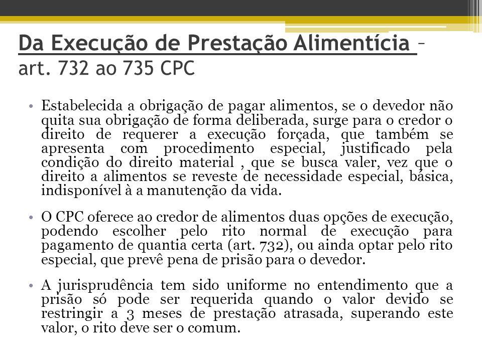 Da Execução de Prestação Alimentícia – art. 732 ao 735 CPC