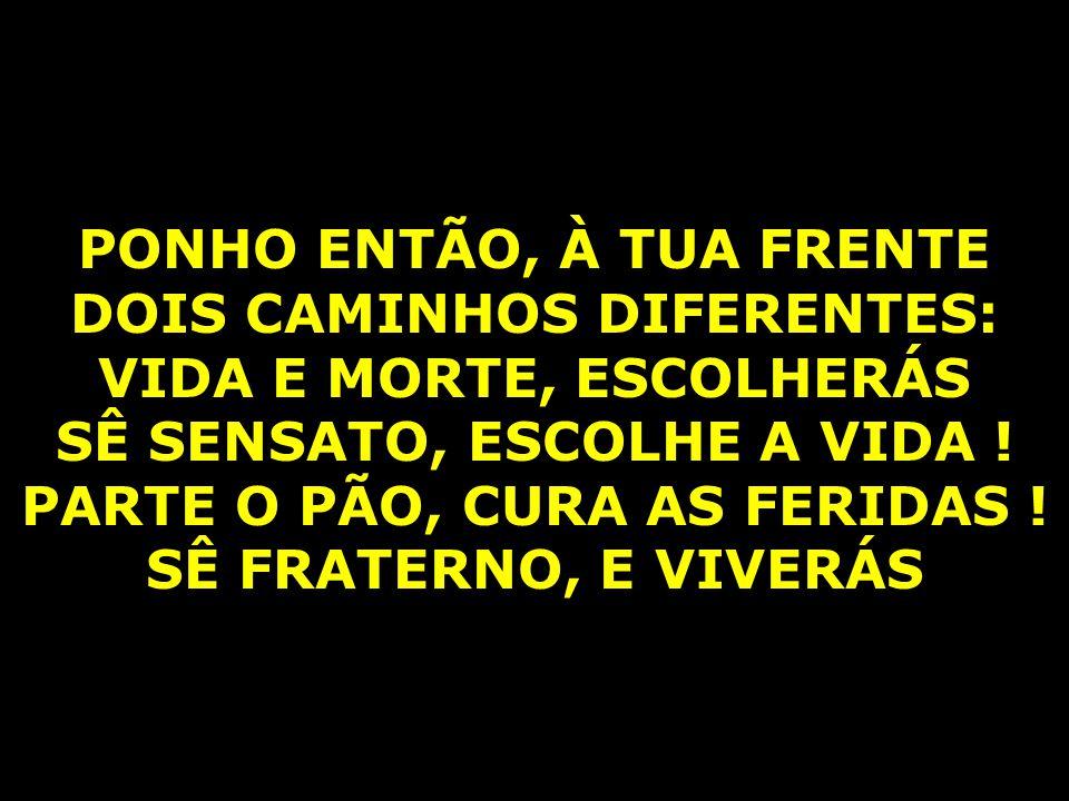 PONHO ENTÃO, À TUA FRENTE DOIS CAMINHOS DIFERENTES: