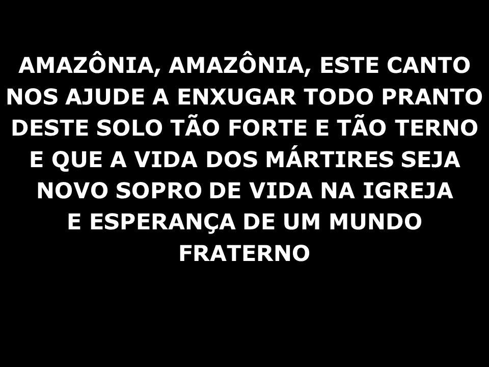 AMAZÔNIA, AMAZÔNIA, ESTE CANTO NOS AJUDE A ENXUGAR TODO PRANTO