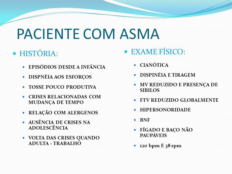 PACIENTE COM ASMA EXAME FÍSICO: HISTÓRIA: CIANÓTICA