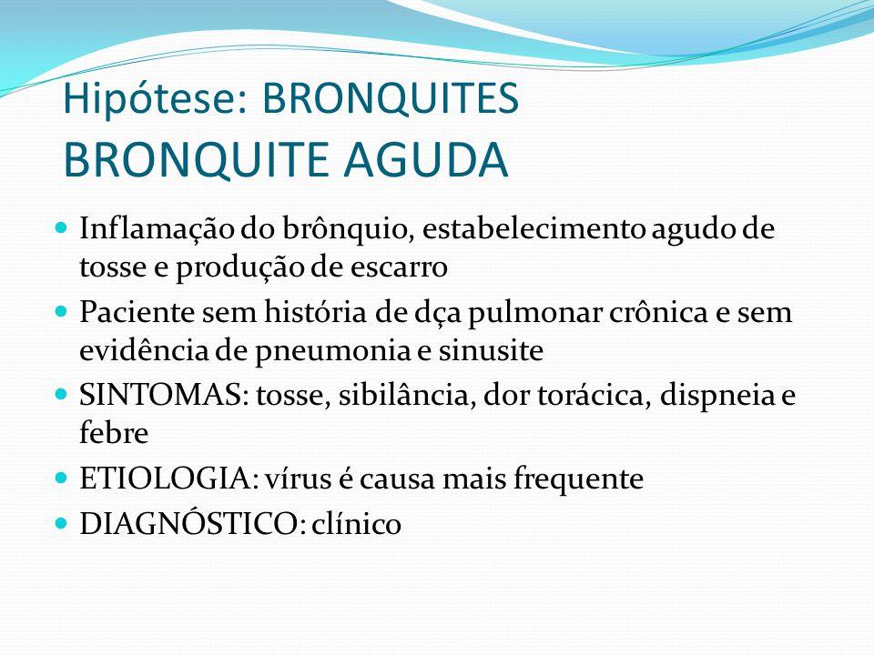 Hipótese: BRONQUITES BRONQUITE AGUDA