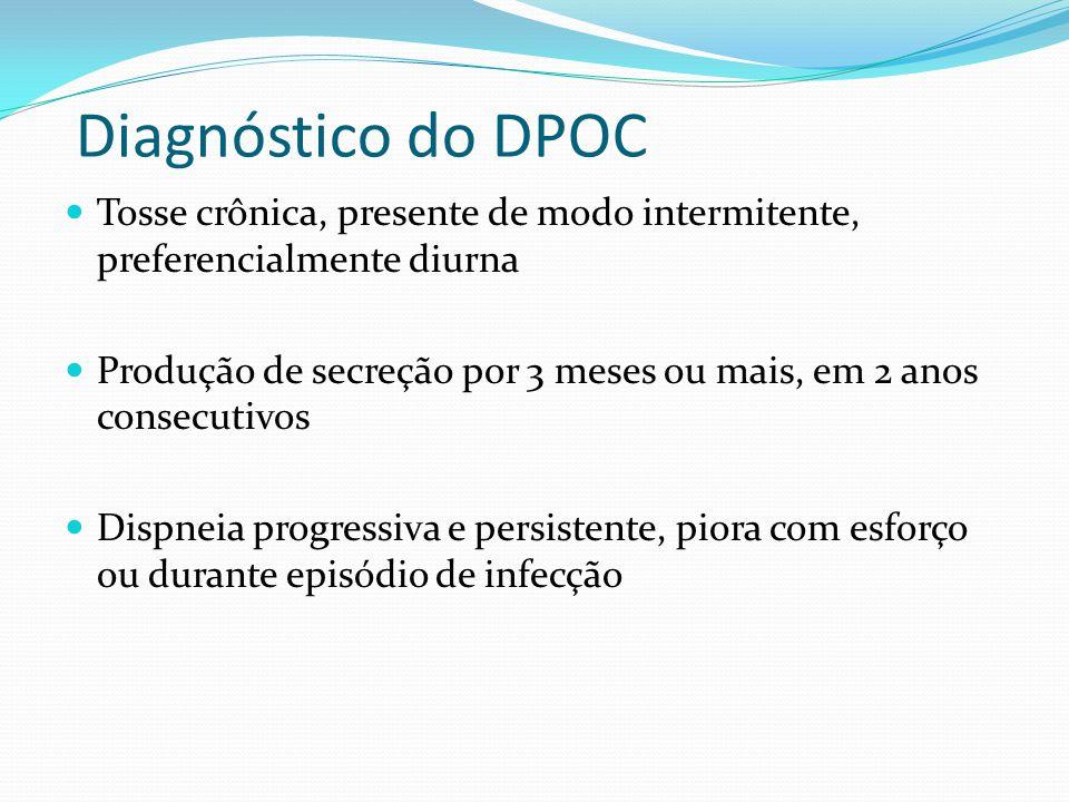 Diagnóstico do DPOC Tosse crônica, presente de modo intermitente, preferencialmente diurna.