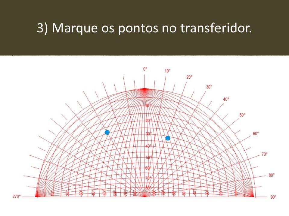 3) Marque os pontos no transferidor.