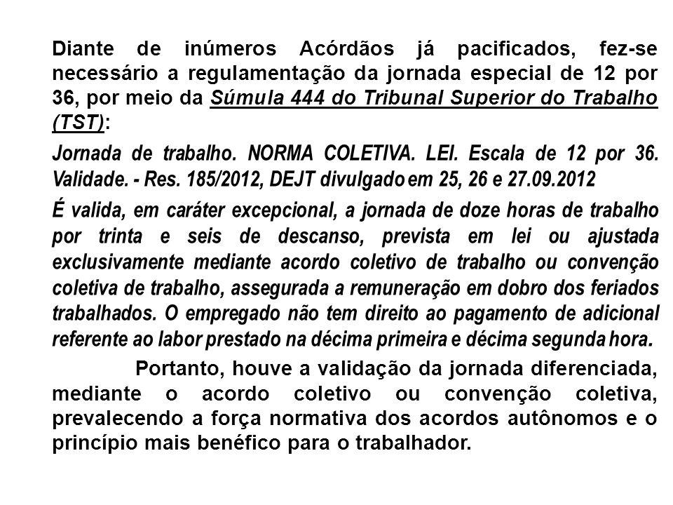 Diante de inúmeros Acórdãos já pacificados, fez-se necessário a regulamentação da jornada especial de 12 por 36, por meio da Súmula 444 do Tribunal Superior do Trabalho (TST):