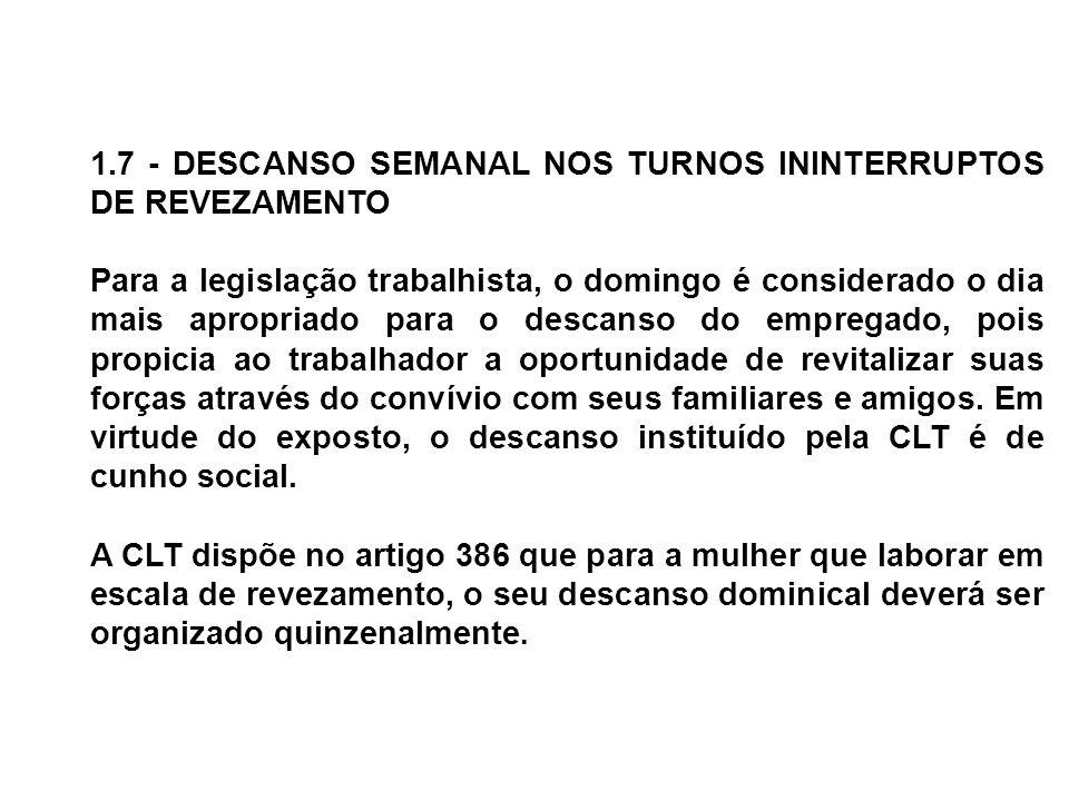 1.7 - DESCANSO SEMANAL NOS TURNOS ININTERRUPTOS DE REVEZAMENTO