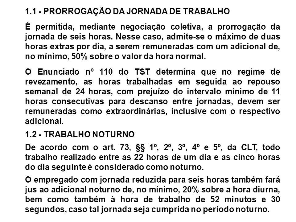 1.1 - PRORROGAÇÃO DA JORNADA DE TRABALHO