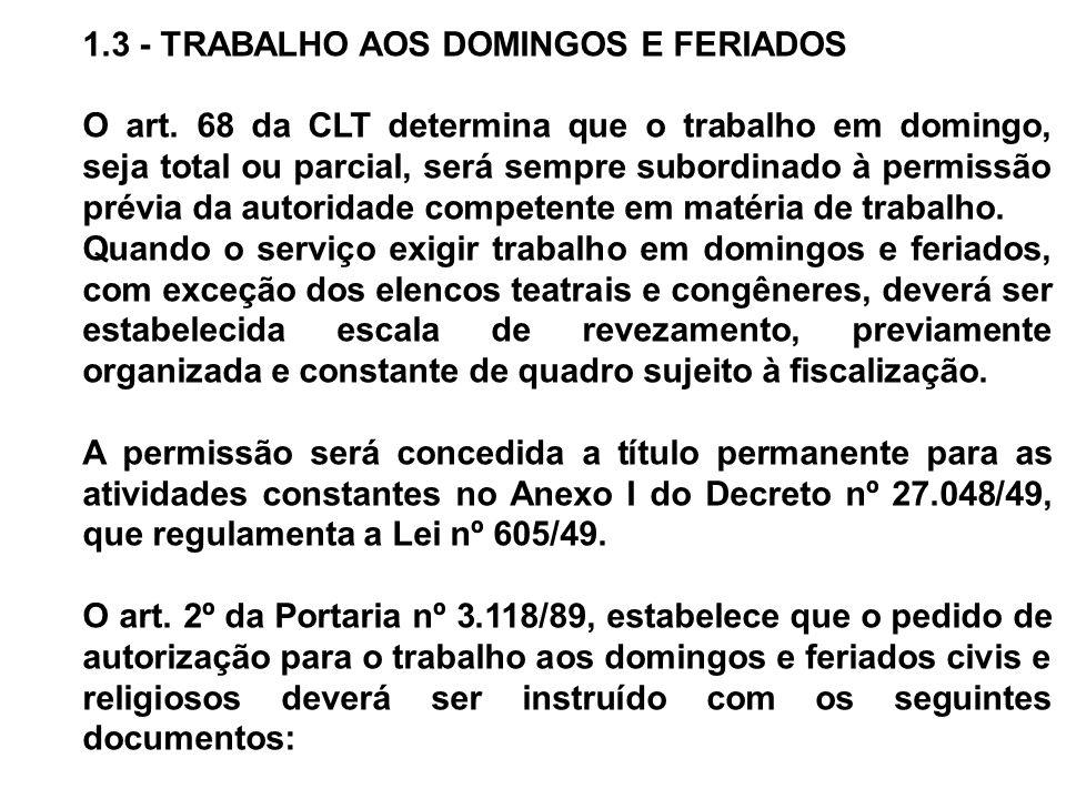 1.3 - TRABALHO AOS DOMINGOS E FERIADOS