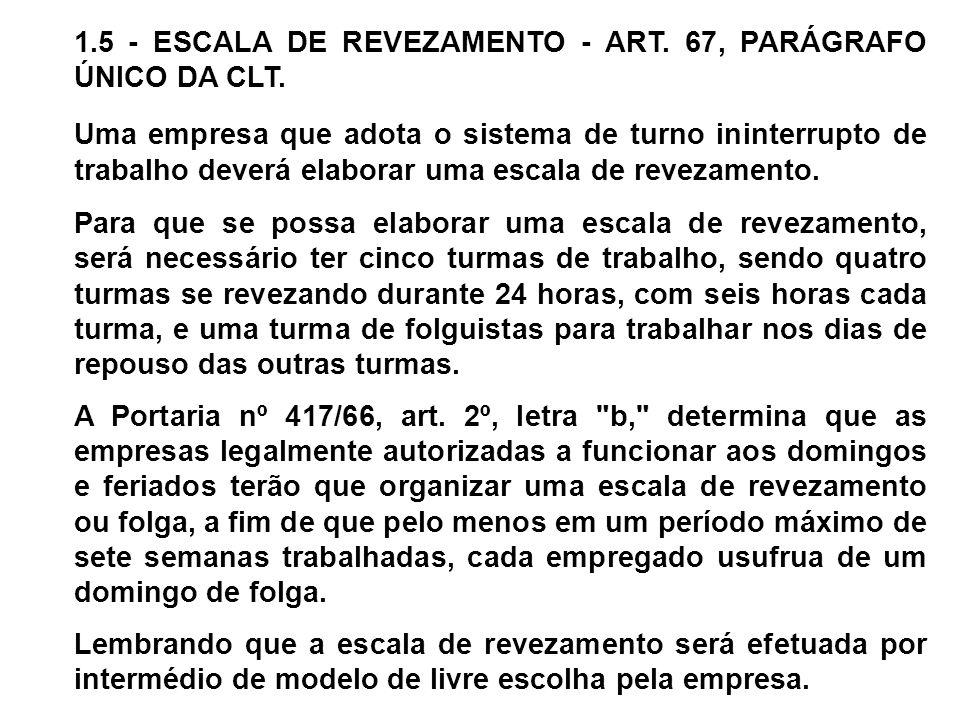 1.5 - ESCALA DE REVEZAMENTO - ART. 67, PARÁGRAFO ÚNICO DA CLT.
