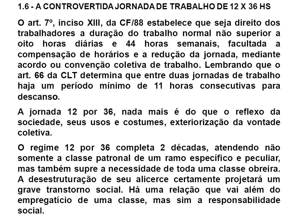 1.6 - A CONTROVERTIDA JORNADA DE TRABALHO DE 12 X 36 HS