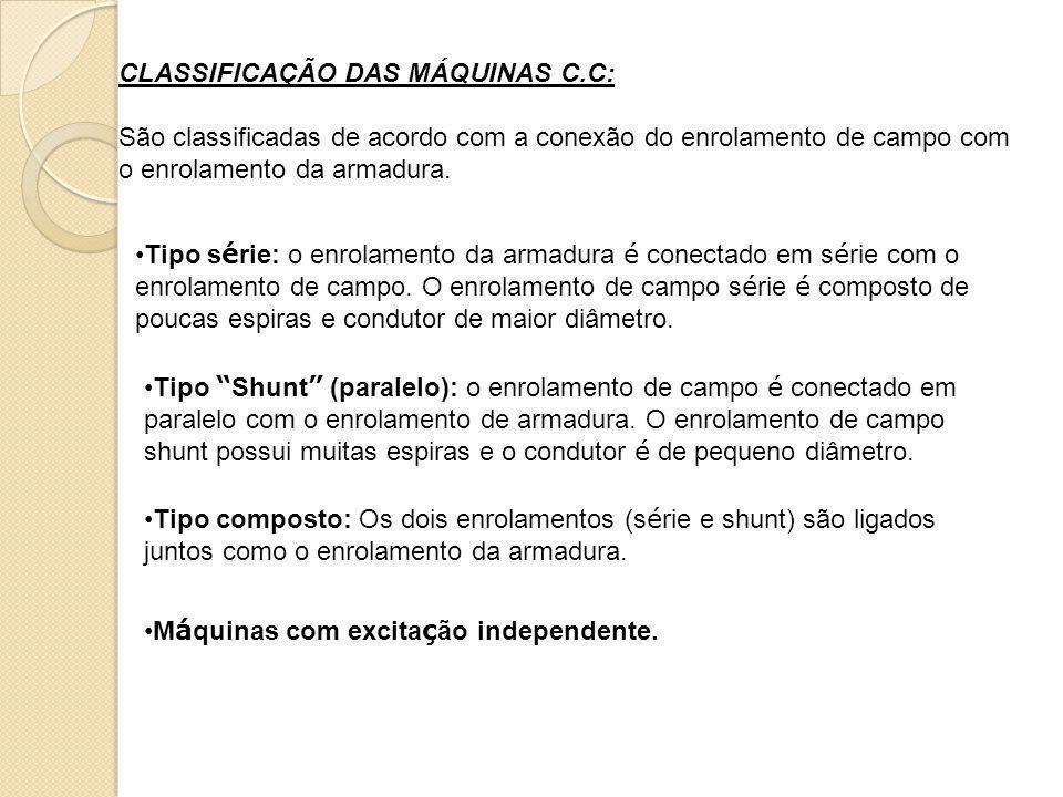CLASSIFICAÇÃO DAS MÁQUINAS C.C: