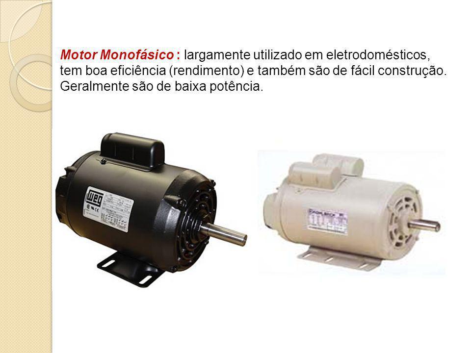 Motor Monofásico : largamente utilizado em eletrodomésticos, tem boa eficiência (rendimento) e também são de fácil construção.