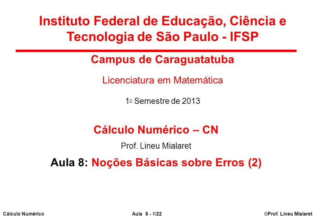 Campus de Caraguatatuba Aula 8: Noções Básicas sobre Erros (2)