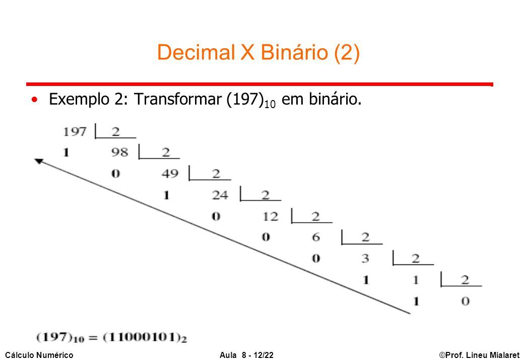 Decimal X Binário (2) Exemplo 2: Transformar (197)10 em binário.