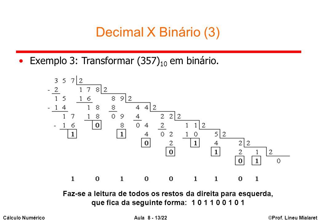Decimal X Binário (3) Exemplo 3: Transformar (357)10 em binário.