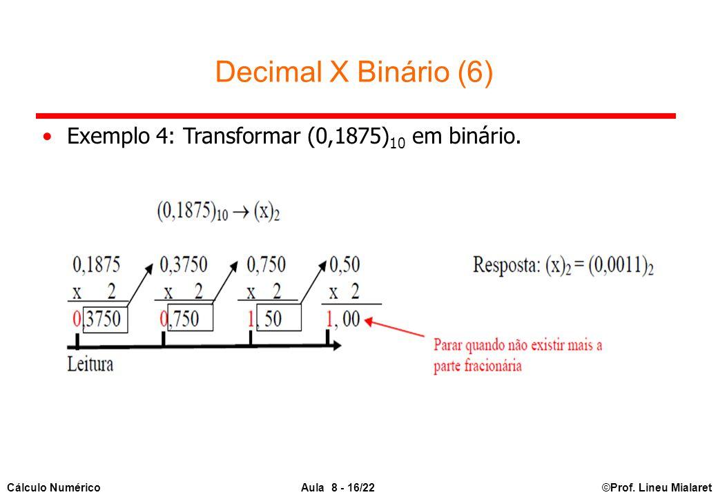 Decimal X Binário (6) Exemplo 4: Transformar (0,1875)10 em binário.