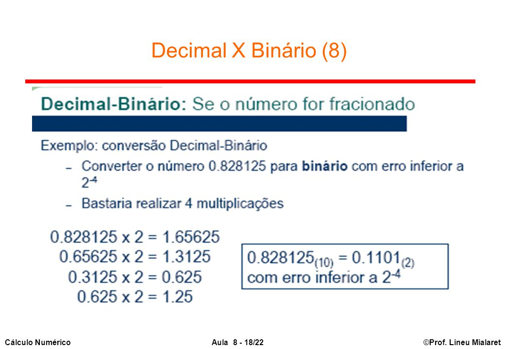 Decimal X Binário (8)