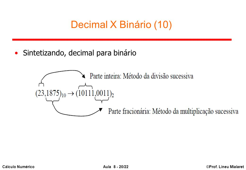 Decimal X Binário (10) Sintetizando, decimal para binário