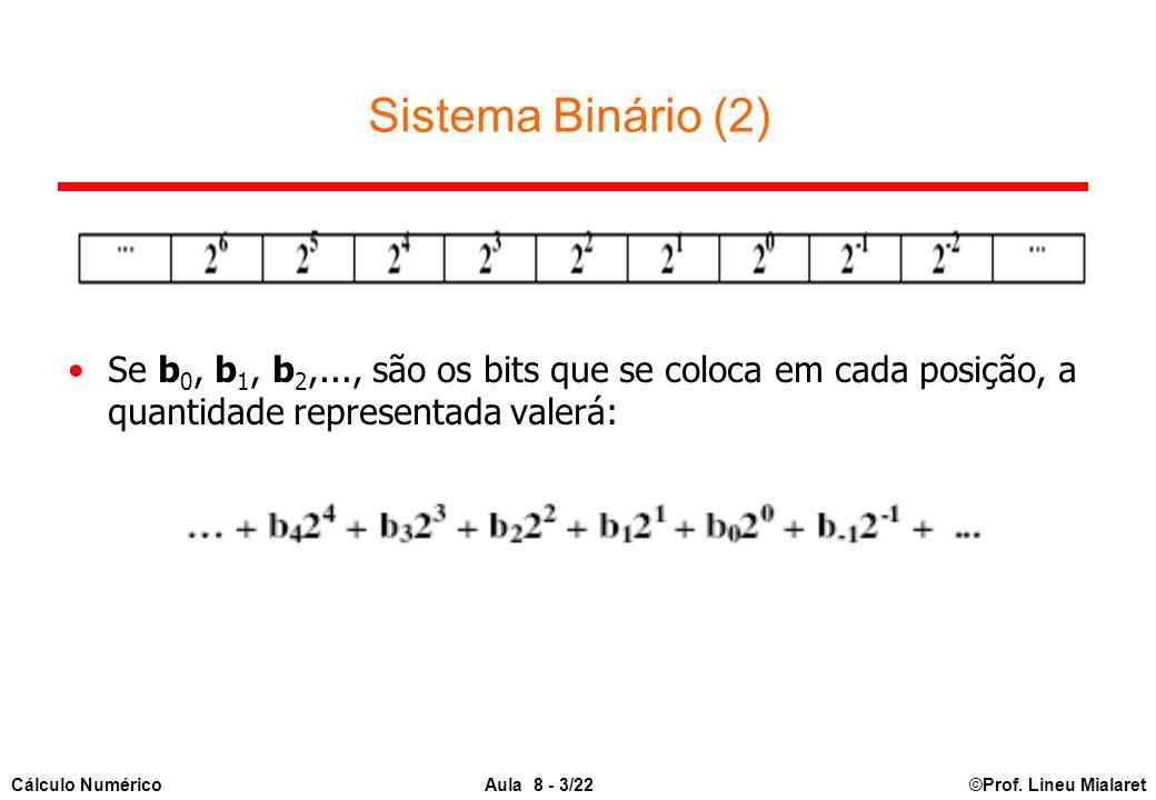 Sistema Binário (2) Se b0, b1, b2,..., são os bits que se coloca em cada posição, a quantidade representada valerá: