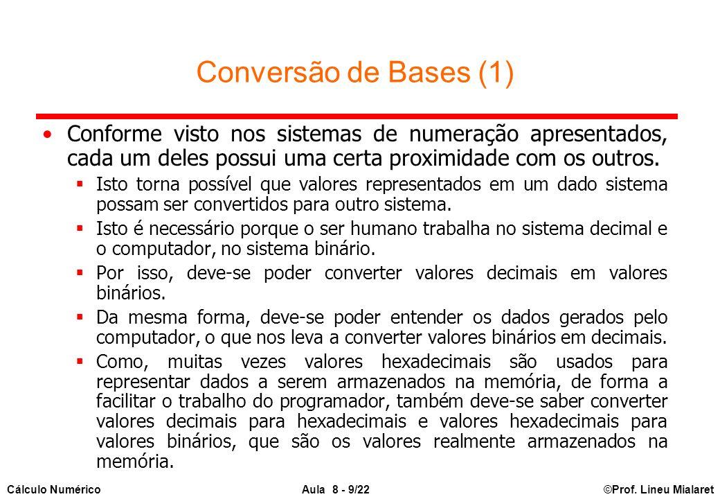 Conversão de Bases (1) Conforme visto nos sistemas de numeração apresentados, cada um deles possui uma certa proximidade com os outros.