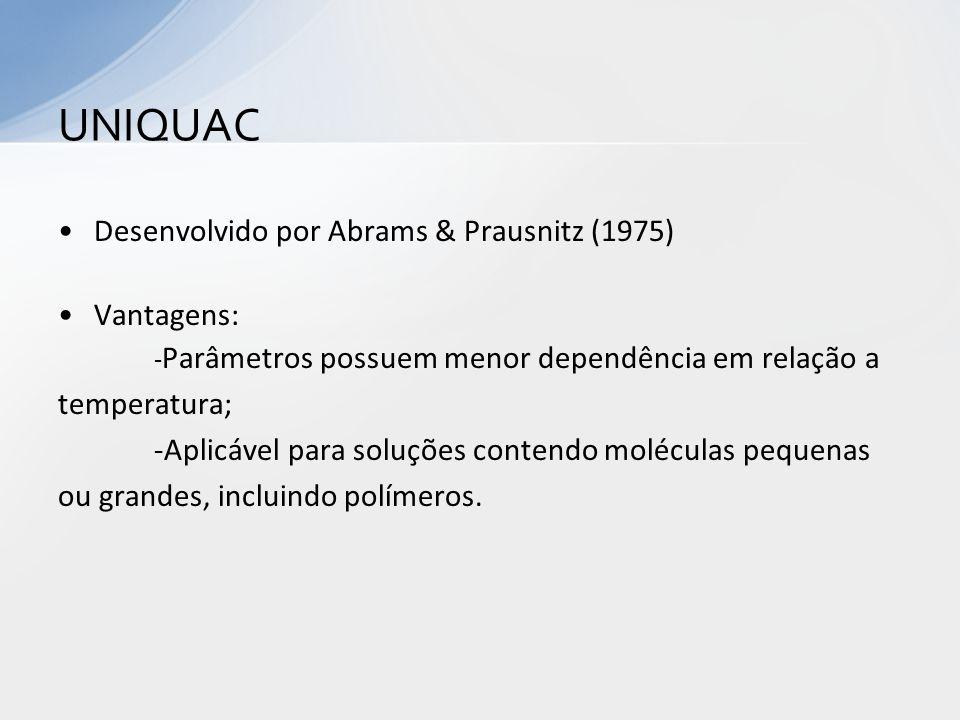 UNIQUAC Desenvolvido por Abrams & Prausnitz (1975) Vantagens: