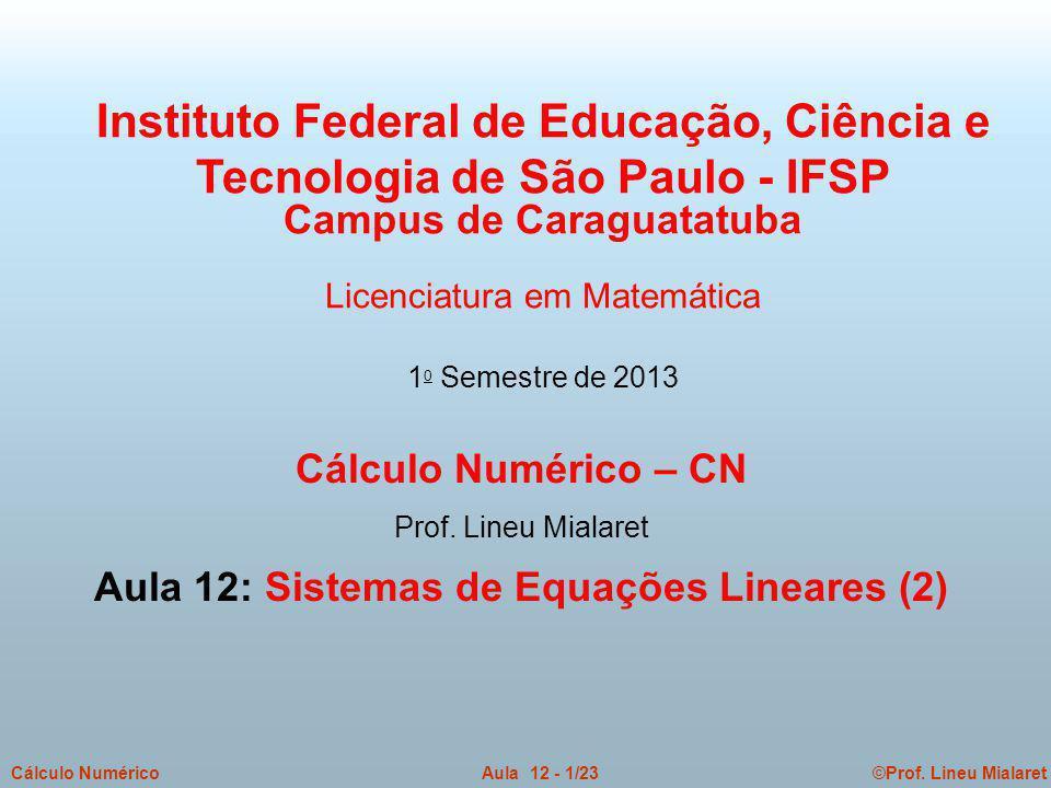 Campus de Caraguatatuba Aula 12: Sistemas de Equações Lineares (2)