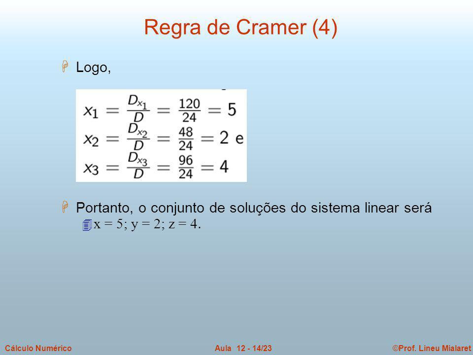 Regra de Cramer (4) Logo, Portanto, o conjunto de soluções do sistema linear será.