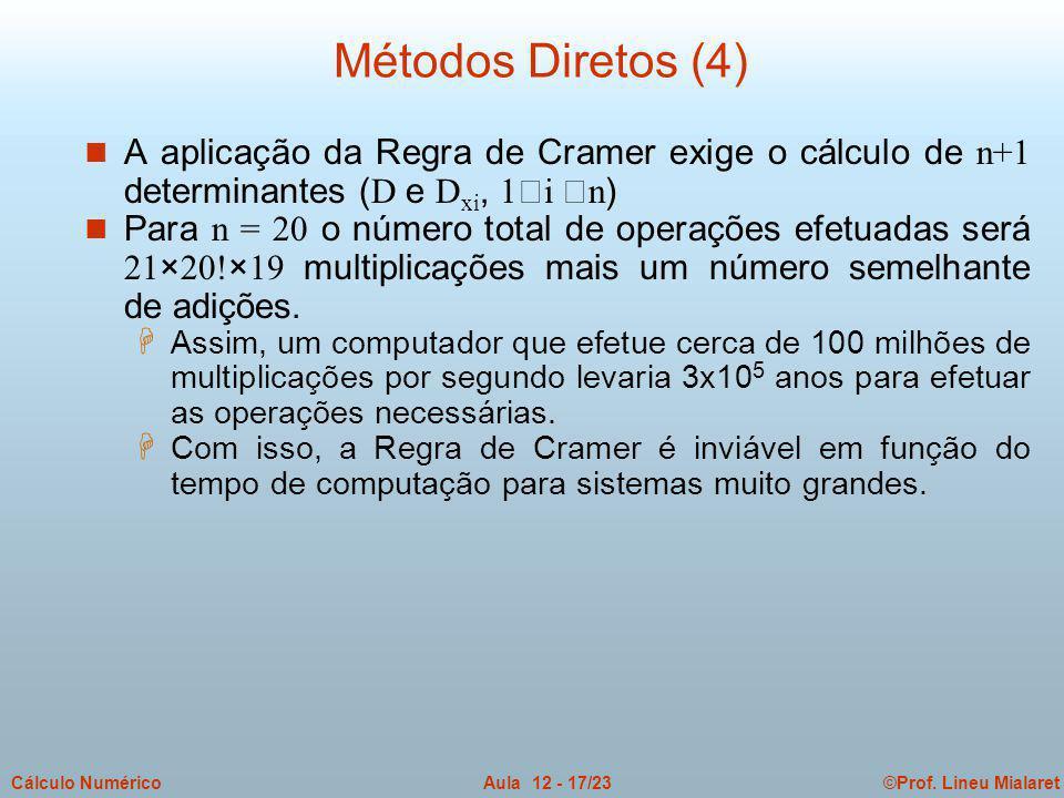 Métodos Diretos (4) A aplicação da Regra de Cramer exige o cálculo de n+1 determinantes (D e Dxi, 1i n)