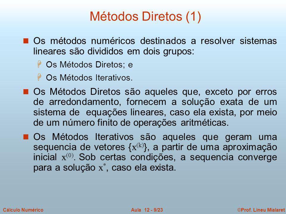 Métodos Diretos (1) Os métodos numéricos destinados a resolver sistemas lineares são divididos em dois grupos: