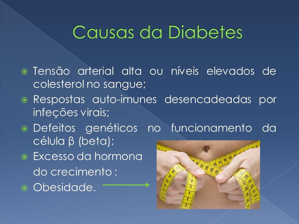 Causas da Diabetes Tensão arterial alta ou níveis elevados de colesterol no sangue; Respostas auto-imunes desencadeadas por infeções virais;