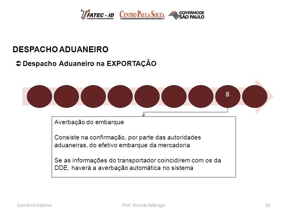DESPACHO ADUANEIRO Despacho Aduaneiro na EXPORTAÇÂO 8