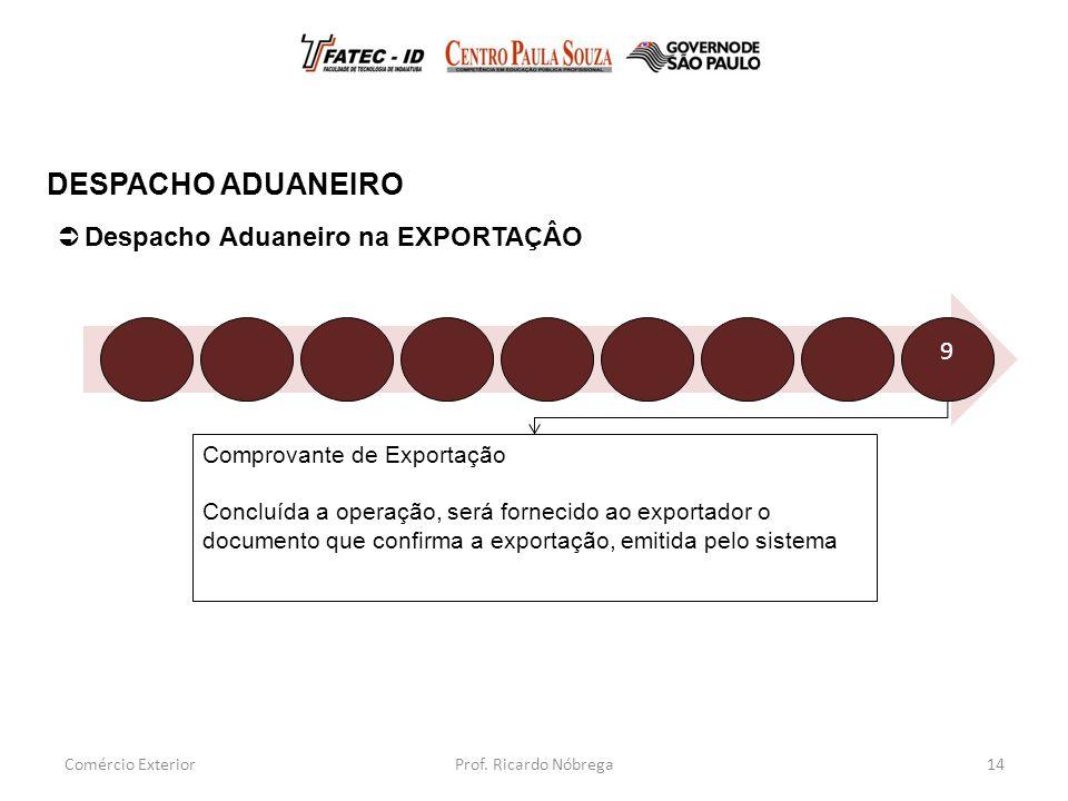 DESPACHO ADUANEIRO Despacho Aduaneiro na EXPORTAÇÂO 9