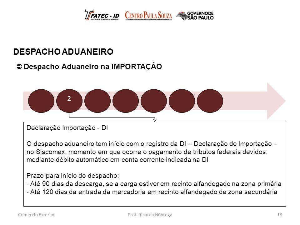 DESPACHO ADUANEIRO Despacho Aduaneiro na IMPORTAÇÂO 2