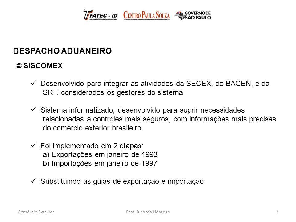 DESPACHO ADUANEIRO SISCOMEX