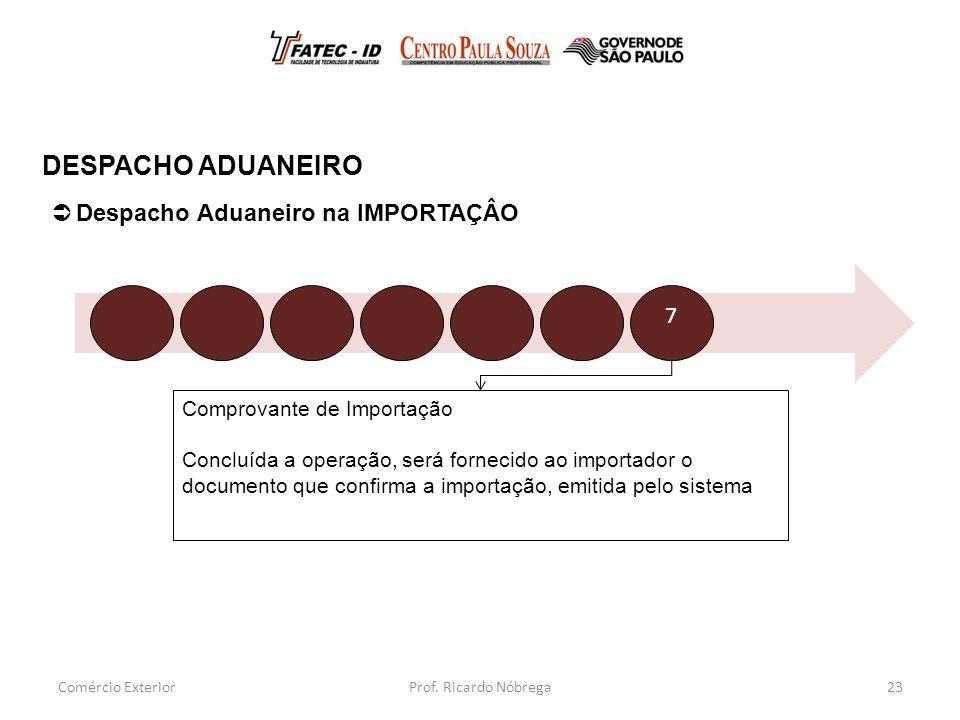 DESPACHO ADUANEIRO Despacho Aduaneiro na IMPORTAÇÂO 7