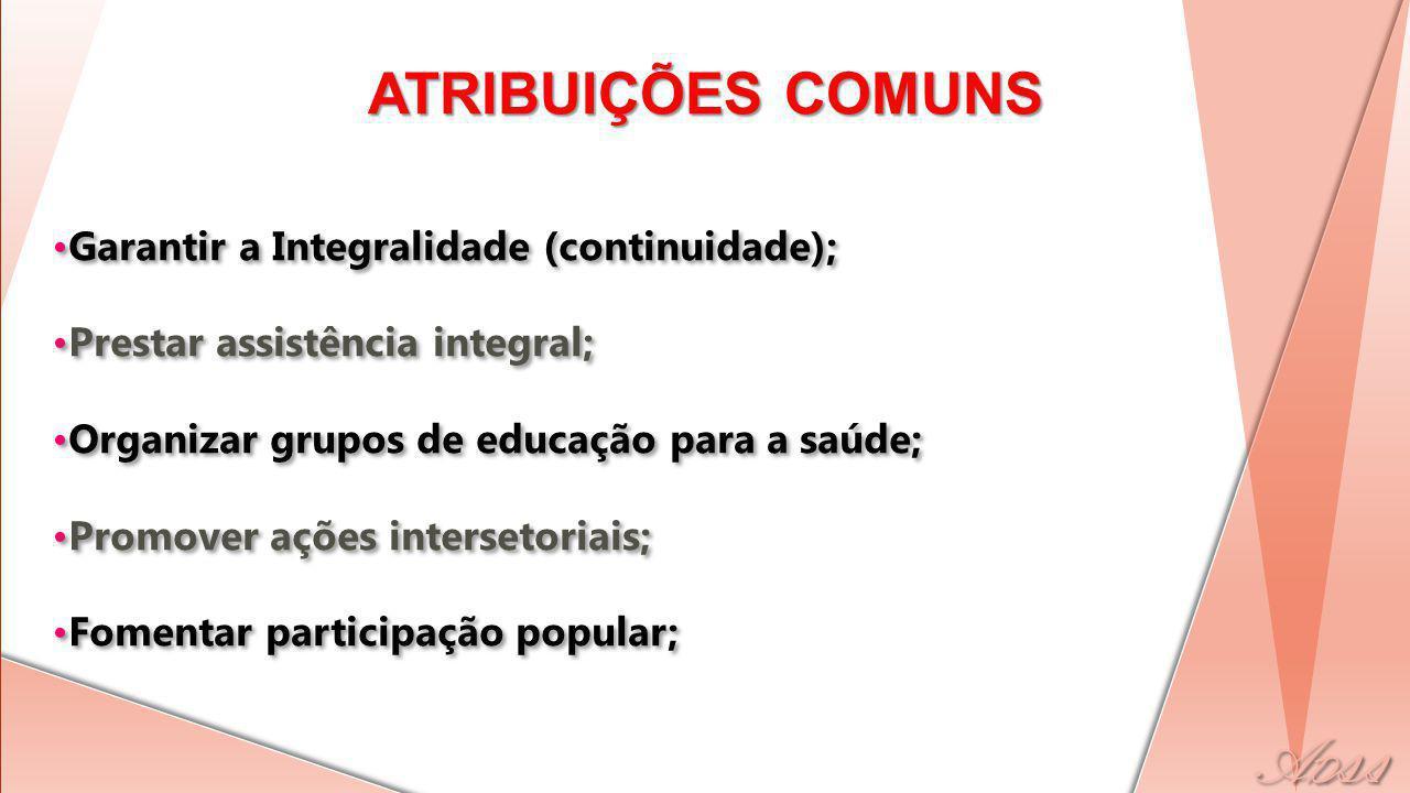 ATRIBUIÇÕES COMUNS Garantir a Integralidade (continuidade);