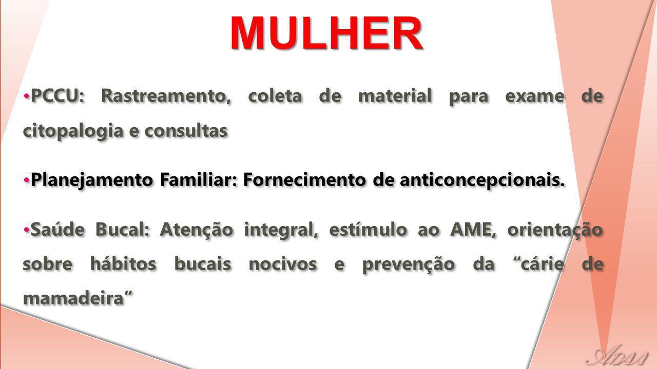 SAÚDE DA MULHER PCCU: Rastreamento, coleta de material para exame de citopalogia e consultas.