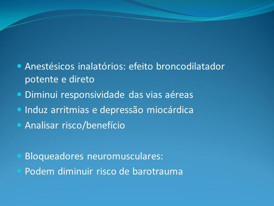 Anestésicos inalatórios: efeito broncodilatador potente e direto