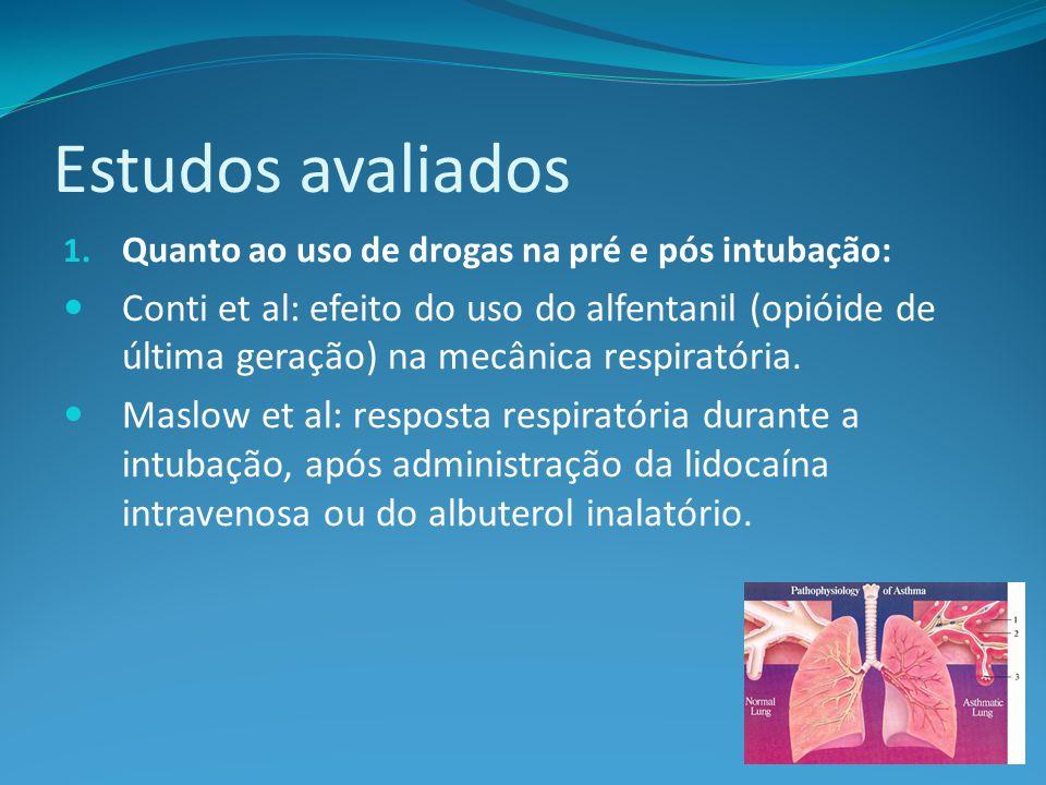 Estudos avaliados Quanto ao uso de drogas na pré e pós intubação: