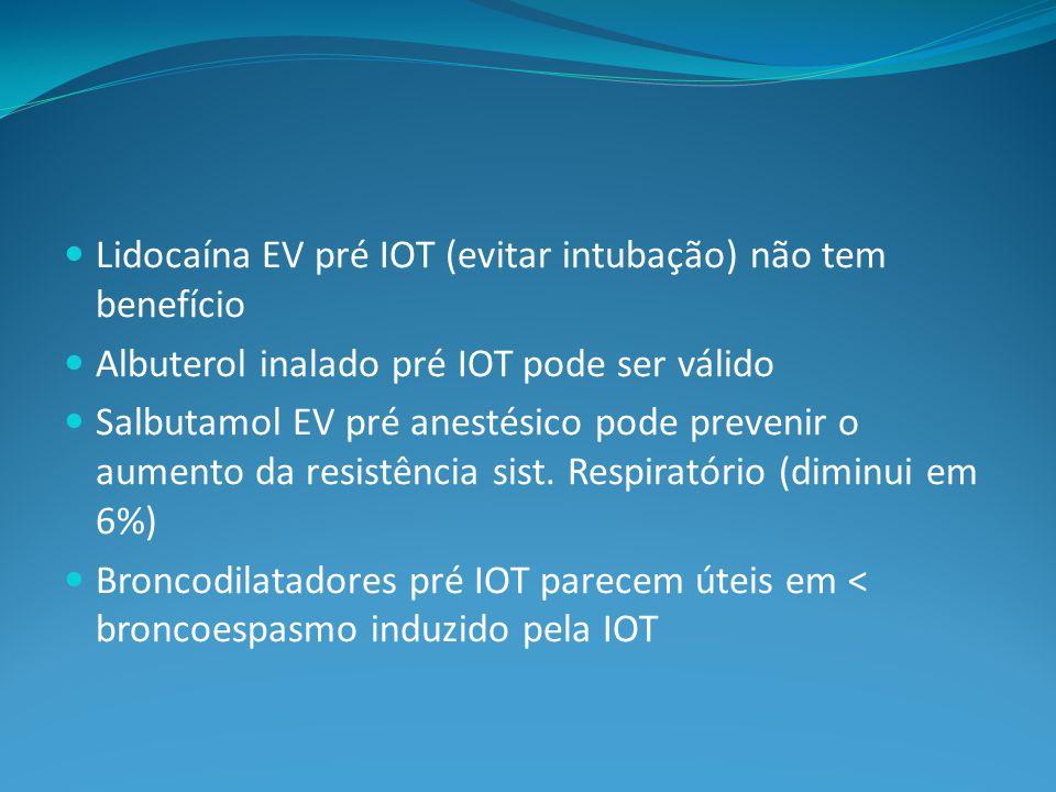 Lidocaína EV pré IOT (evitar intubação) não tem benefício