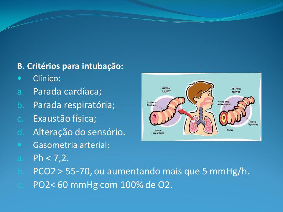 PCO2 > 55-70, ou aumentando mais que 5 mmHg/h.