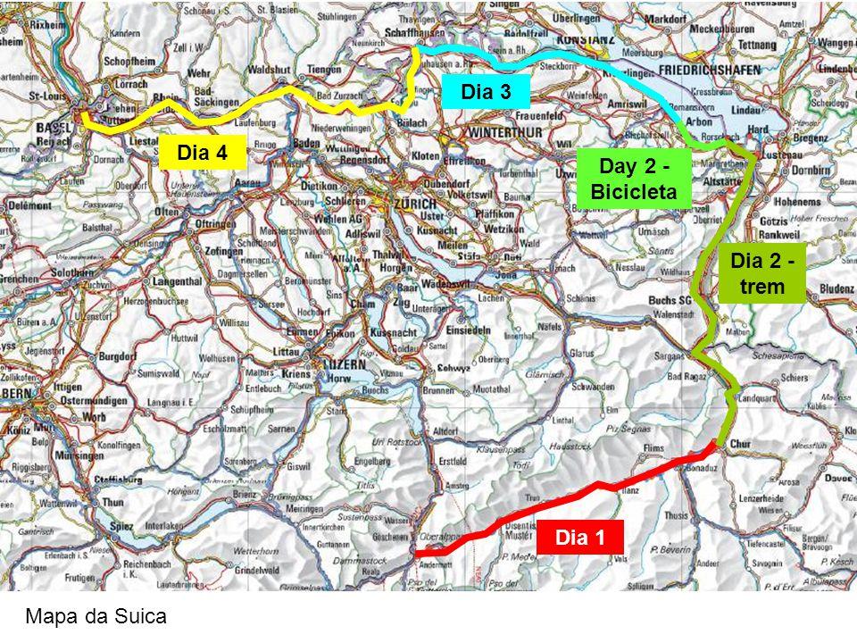 Dia 3 Dia 4 Day 2 - Bicicleta Dia 2 - trem Dia 1 Mapa da Suica